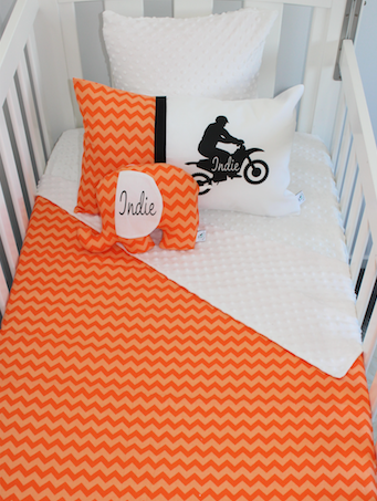 Orange Chevron & White Dirt Bike Cot Set
