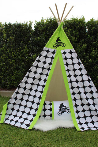 Moroccan Black & Lime Green Bike Teepee