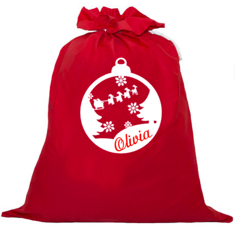 Personalised Santa Sack - Santa's Sleigh in Bauble
