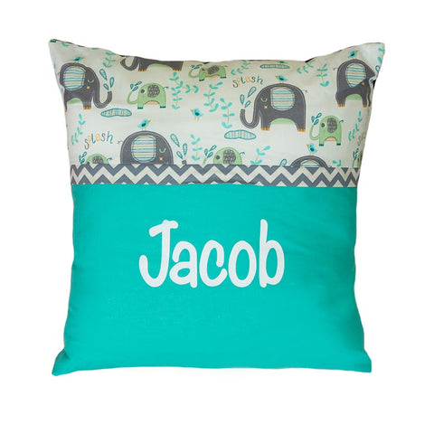 Personalised Cushion SQUARE Mint elephant splash