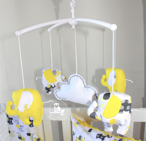 Musical Mobile-Lemon & Grey Elephants