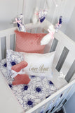 White & Navy Anemones with Coral Comforter Set - PREMIUM