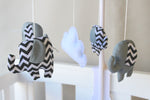 Musical Mobile-Grey and black chevron elephants