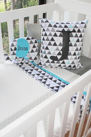Aqua & Grey Geometric Monogram Panel Cot Set - PREMIUM