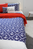 Nautical Damask Bed set - Navy