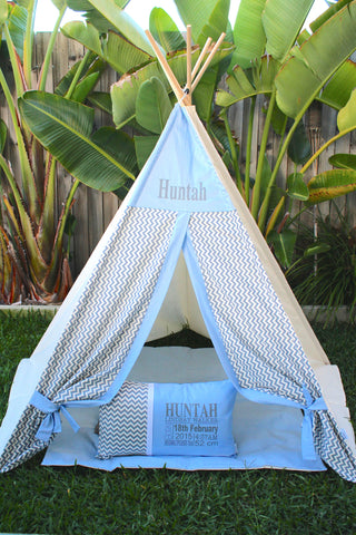 Chevron Grey - Baby Blue Teepee