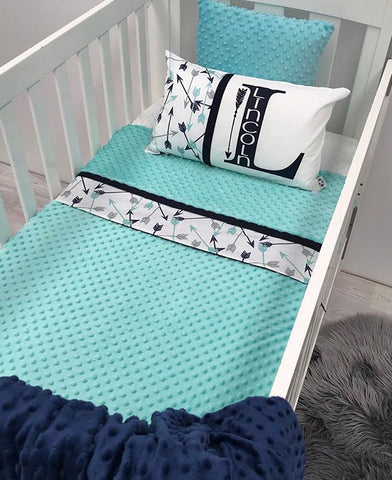 Navy Arrow Cot Blanket - Hoot Designz