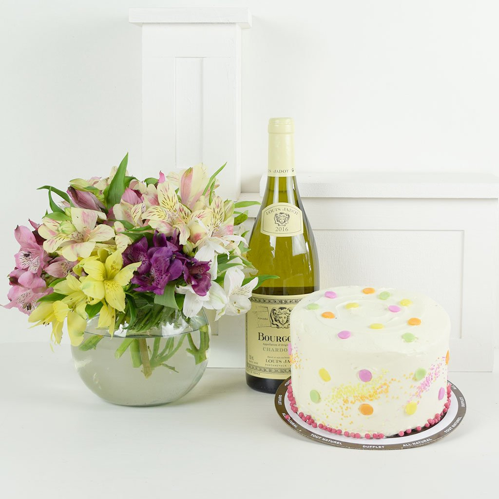 Prime Wine Gifts Birthday Bash Lilies Wine Flower Gift New York Blooms Funny Birthday Cards Online Aeocydamsfinfo