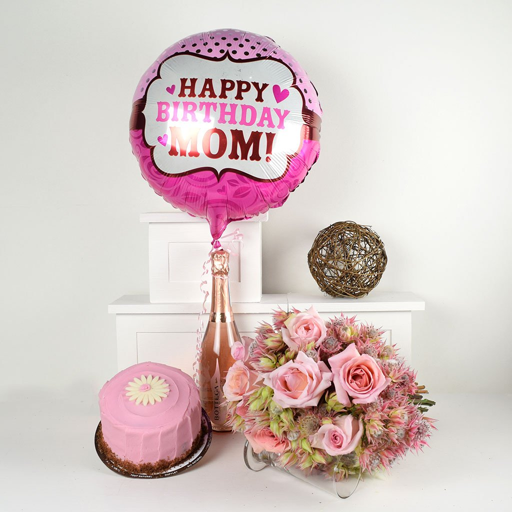 Happy Birthday Mom Flowers Prosecco Gift