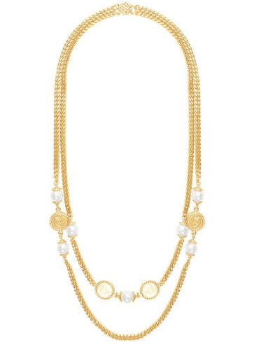 Layered gold necklace with pearl and coin accents