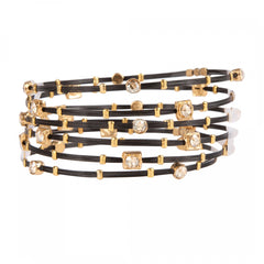 Shades of Clear Crystal Gold/Black Bracelet - Set of 6