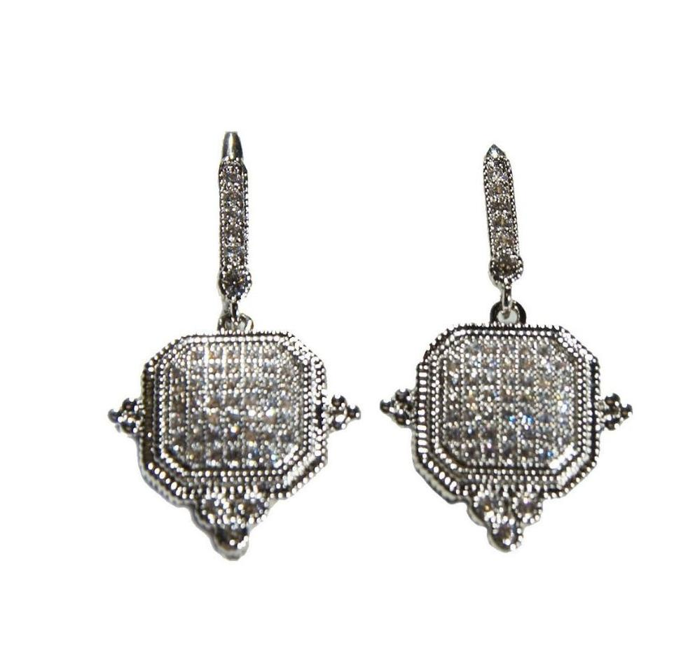 Silver w/ Pave Center Earring