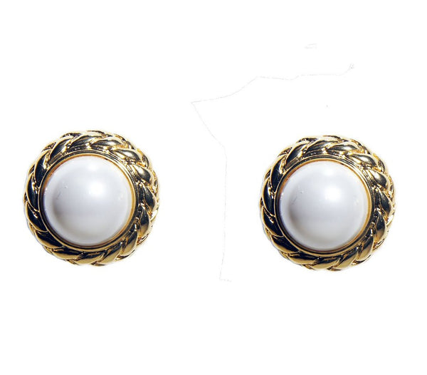 Gold Pearl Clip Earring