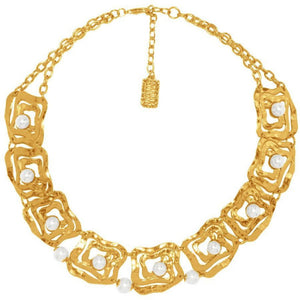 Square Rose Design Cut-Outs Statement Necklace Gold/Pearl