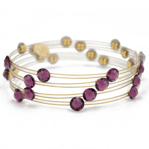 Shades of Amethyst Crystal Gold Bracelet - Set of 4