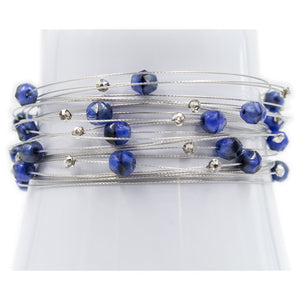 Shades of Blue Denim Crystal Silver Bracelet