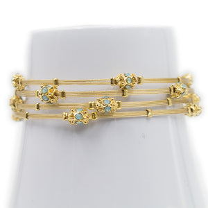 Shades of Opal Turquoise Crystal Floral Gold Bracelet - Set of 4