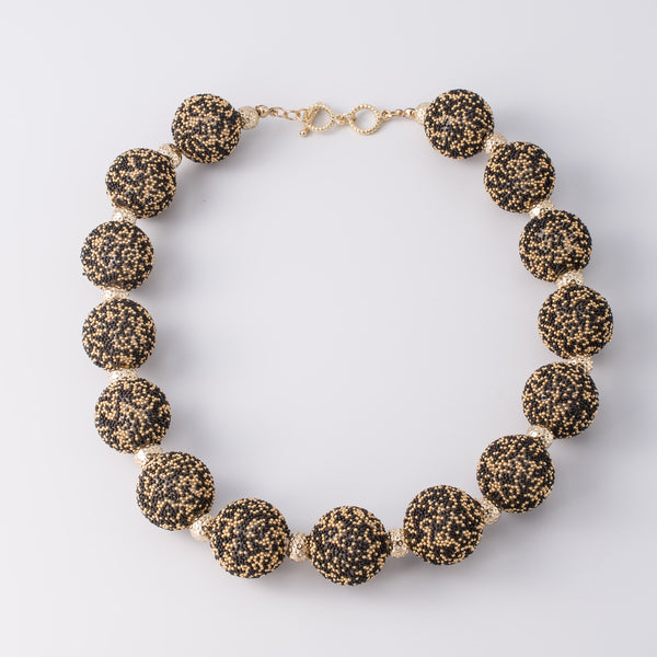 Gold Black Caviar Beaded Short Necklace