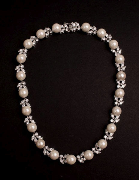 Cubic Zirconia Pearl Necklace