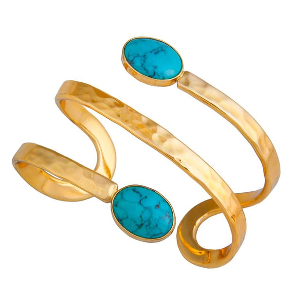 Alchemia Turquoise Wrap Cuff - Hammered