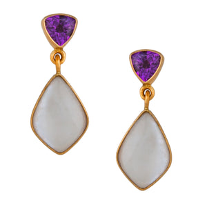 Alchemia Mother of Pearl and Amethyst Post Earrings