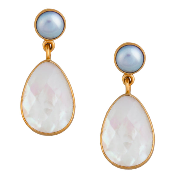Alchemia Pearl and Mother of Pearl Post Earrings