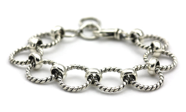 925 Sterling Silver Bali Twisted Circle Link Bracelet