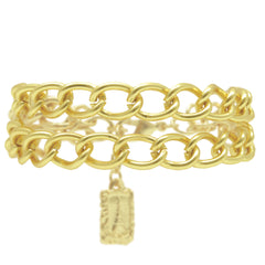 Gold Double-Strand Flat Curb Link Bracelet