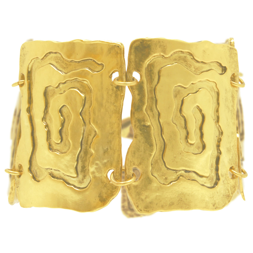 Large square link antique gold bracelet
