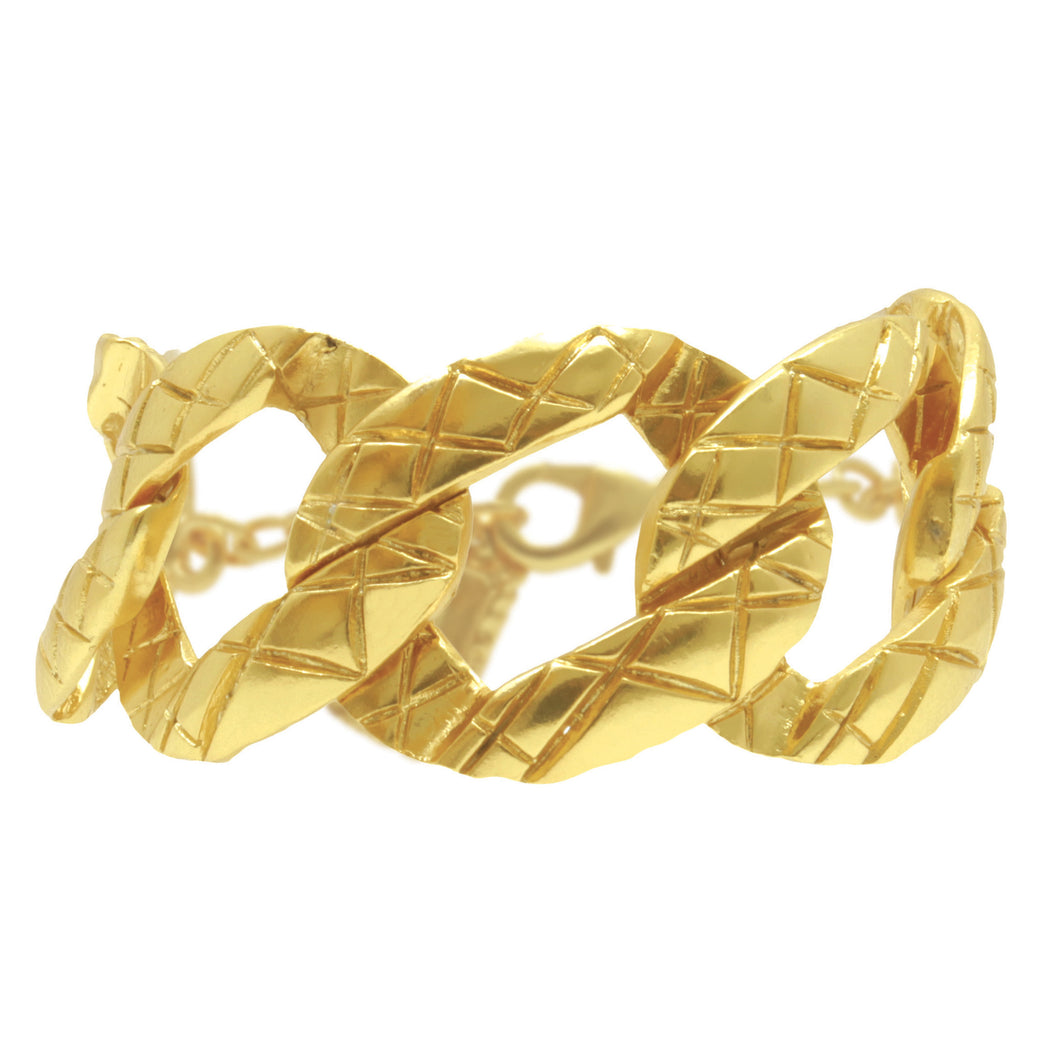 Gold Brushed Curb Link Bracelet