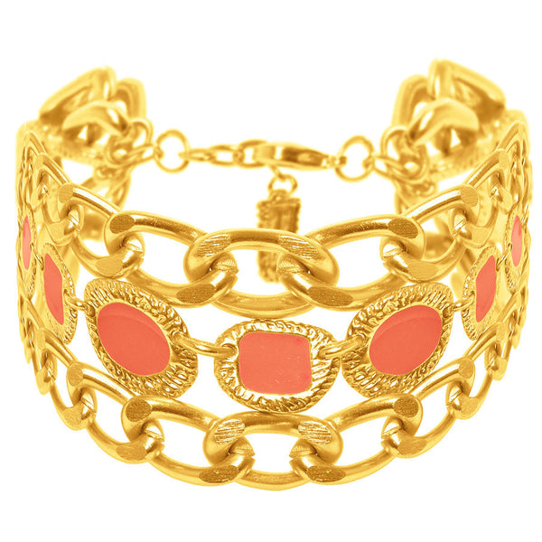 Gold Bracelet with Coral Enamel Accents