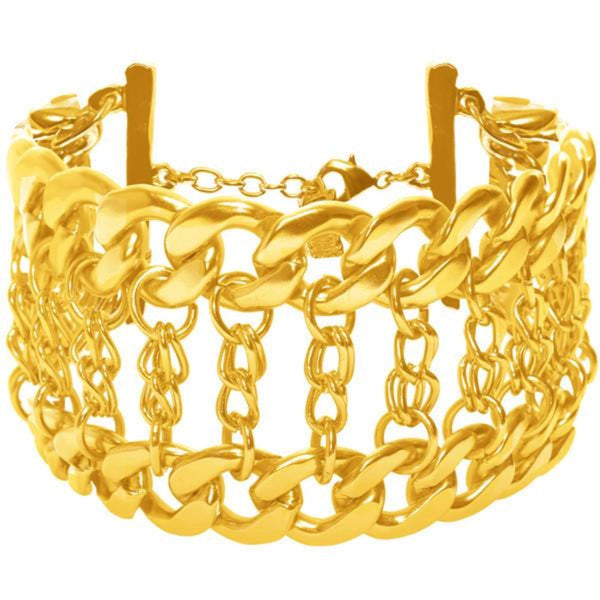 24 KT Gold Plated Double Chain Statement Bracelet