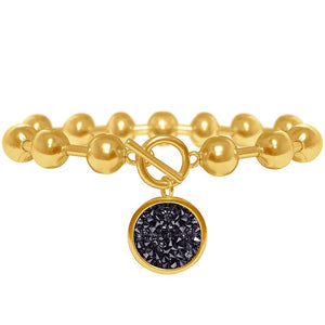 Louna Charm Bracelet In Gold/Black Crystal