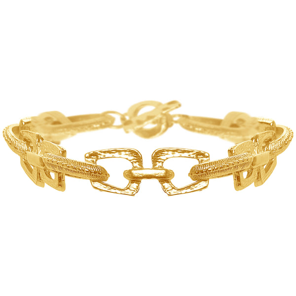 Gold Bracelet with Geo-Cutout and Mixed Texture