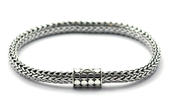 925 Sterling Silver Bali Padi Link Bracelet with Bola Clasp