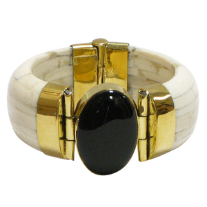 Black Onyx & Gold Clasp Ivory Water Buffalo Bone Wide Cuff