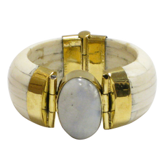 Rainbow Quartz & Gold Clasp Ivory Water Buffalo Bone Wide Cuff