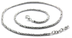 Byzantine Borobudur 925 Sterling Silver Necklace 18-20""