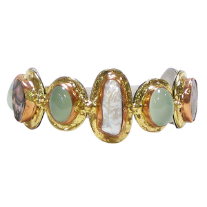 Abalone, Pearl & Aqua Chalcedony with Gold Copper White Metal Cuff