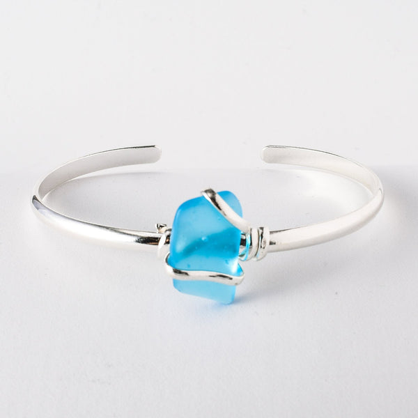 Alpaca Recycled Glass Freeform Cuff - Blue
