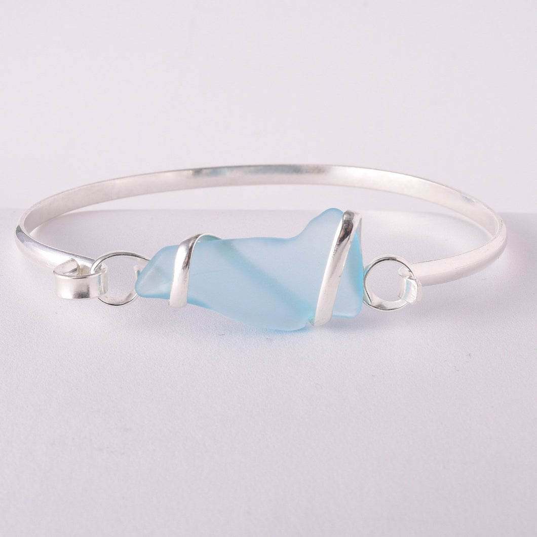 Alpaca Recycled Glass Freeform Bangles - Aqua