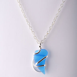 Alpaca Recycle Glass Pendant Necklace Music Note - Blue