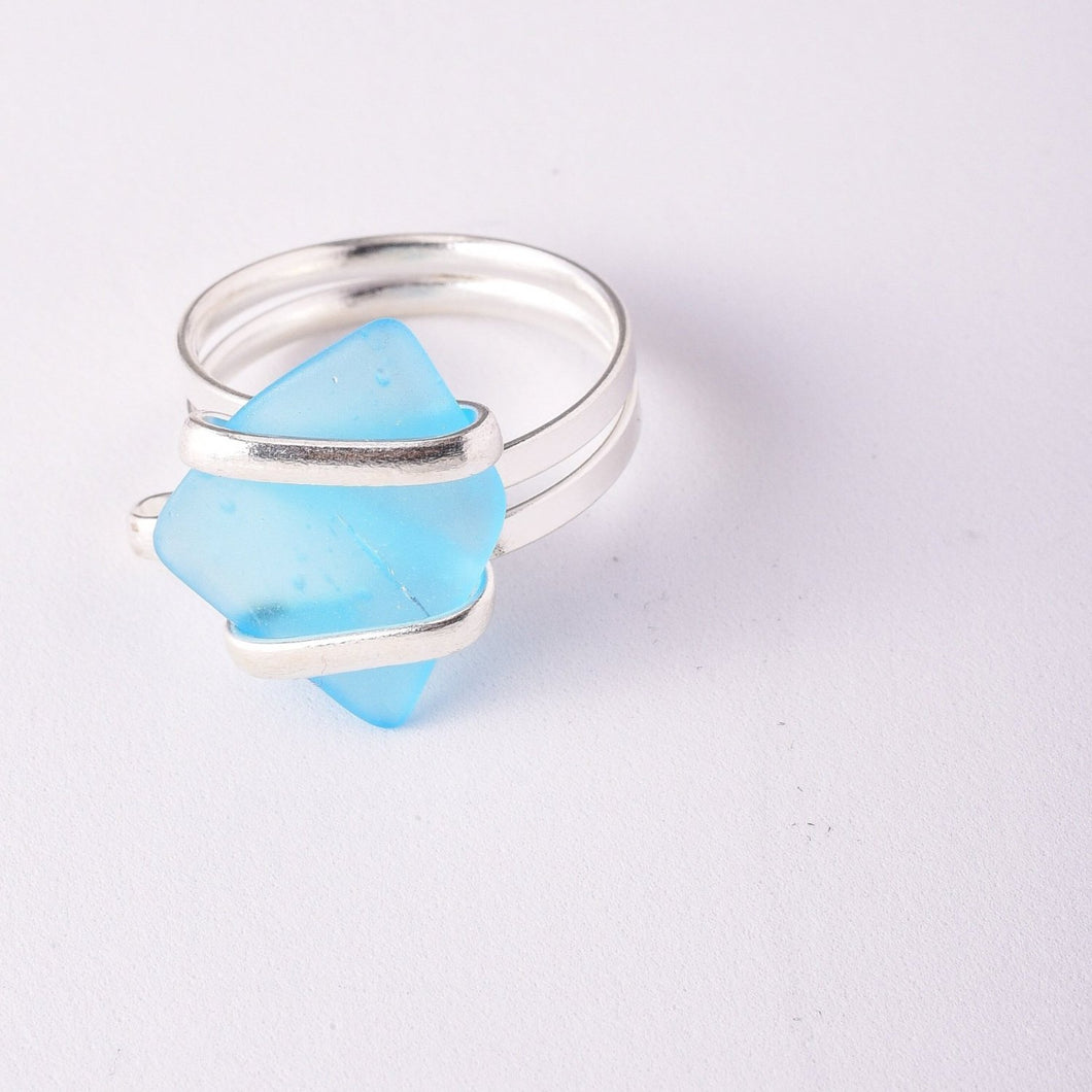 Alpaca Recycle Glass Adjustable Rings - Aqua