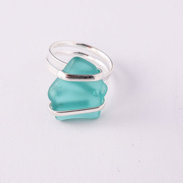 Alpaca Recycle Glass Adjustable Rings - Mint
