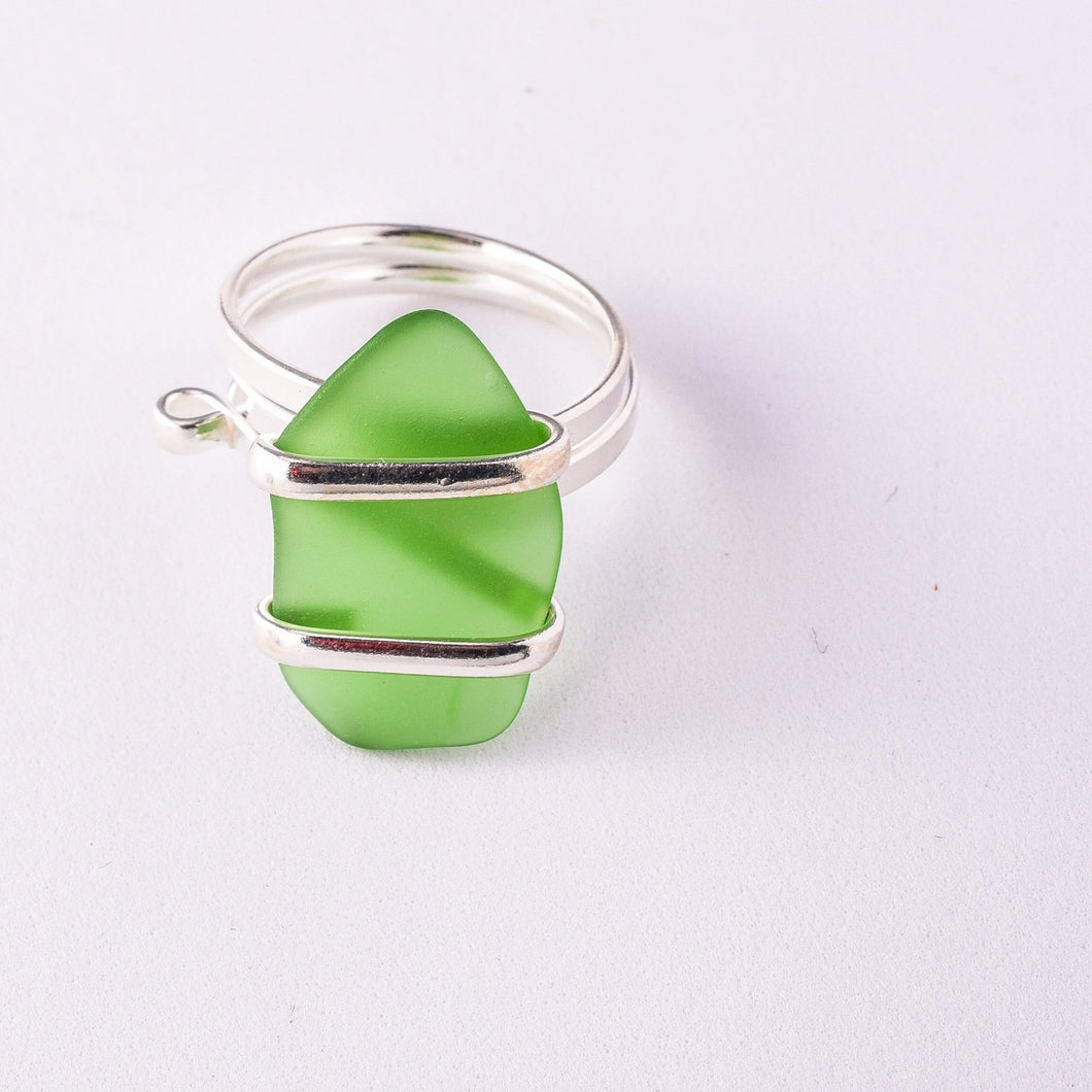 Alpaca Recycle Glass Adjustable Rings - Green