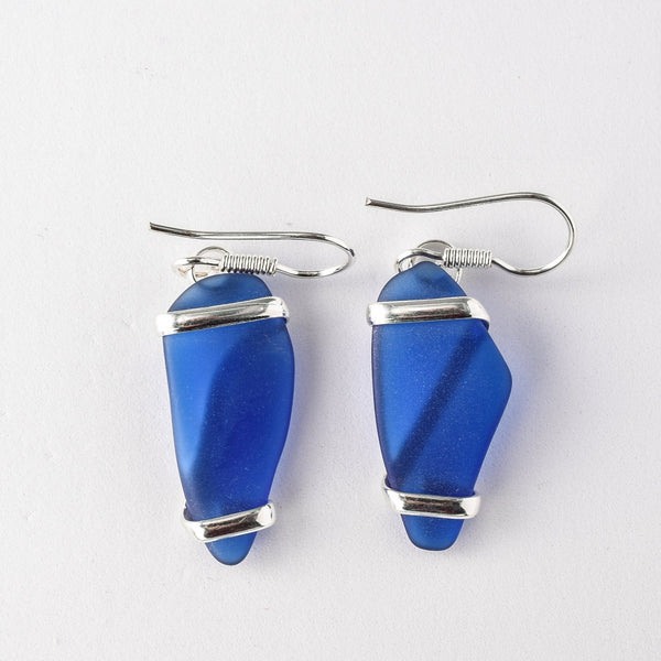 Alpaca Recycled Glass Freeform Earrings - Cobalt Blue