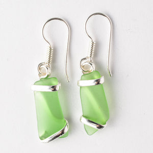 Alpaca Recycled Glass Freeform Earrings - Green