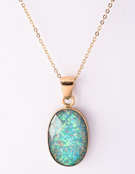 Alchemia Synthetic Opal Pendant Necklace - Green