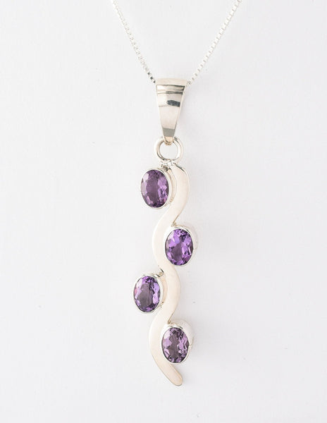 Sterling Silver Amethyst Wave Pendant Necklace