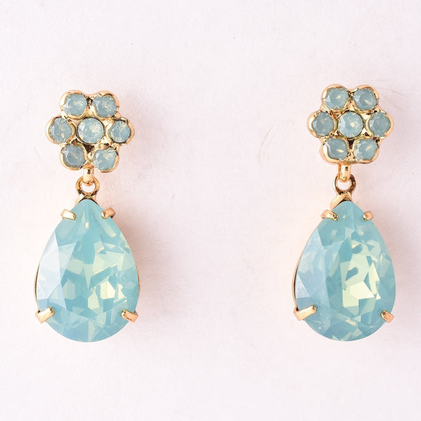 Floral Crystal Charm Earring